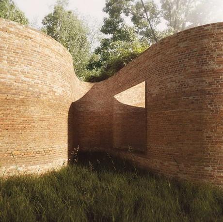 Кирпичный дом необычной формы в США