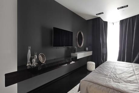 Дизайн современной спальни в чёрно-белых тонах