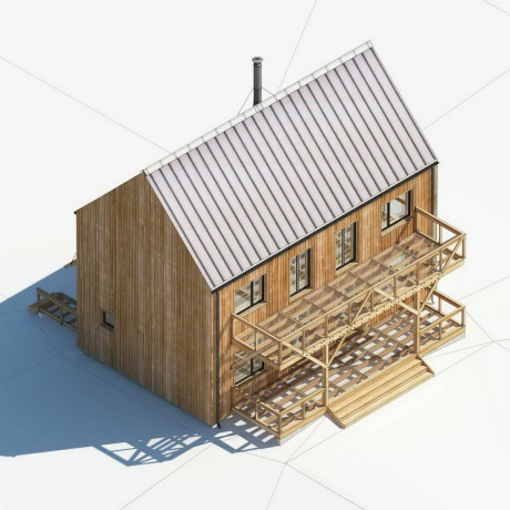 Кровля фальцевая, наружные стены — решетка из вертикально расположенных деревянных реек