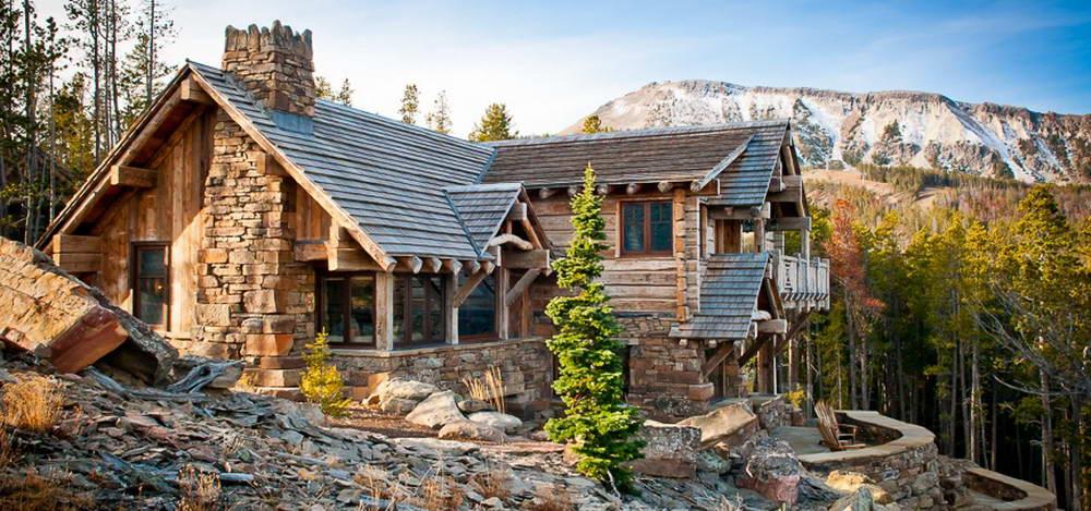 Rainbow Point Cabin 1 460x215 Шале в США 2 фасад лестница лес природа камень дерево
