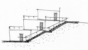 Террасный одноквартирный дом. Дополнительные входы в различные функциональные зоны.