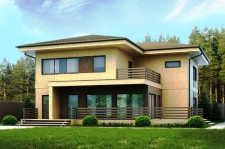 Проект дома из вертикальных брусьев