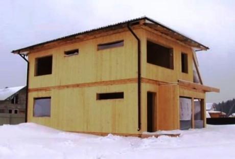 Дом по технологии вертикальных брусьев