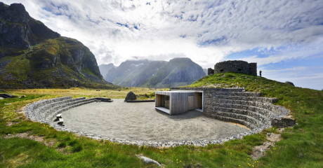 Eggum Ruta Turística 1 460x240 Каменный амфитеатр в Норвегии рельеф ландшафт природа камень