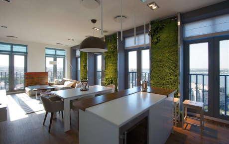 Квартира с зелёными стенами в Днепропетровске
