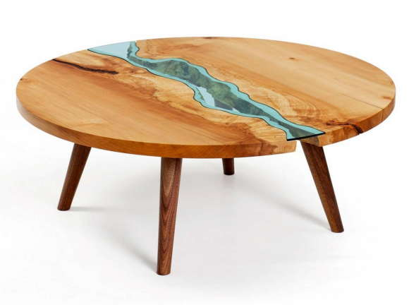 Table with Glass Rivers 6