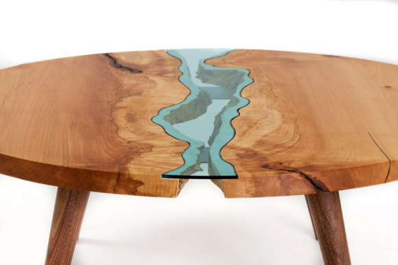 Table with Glass Rivers 7