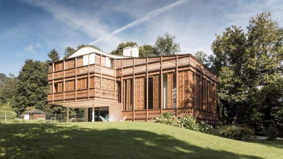 Дом с декоративным деревянным экраном в Австрии