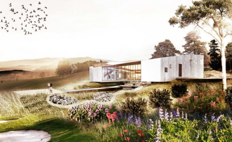 Проект дома с двором на склоне в Испании