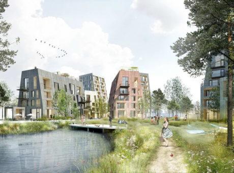 Деревянный квартал в Швеции
