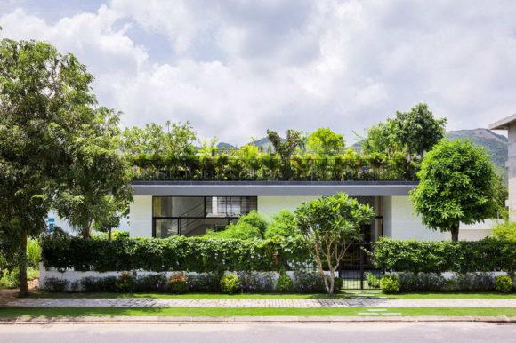 Дом с зелёной террасой на крыше
