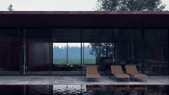 Проект дома с бассейном в Карпатах