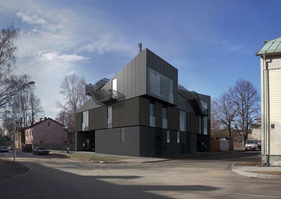 Этот эффектный современный дом построен в историческом центре латвийской столицы с учётом строгих местных норм и правил.