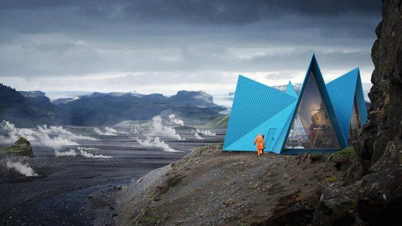 Проект горного приюта в Исландии