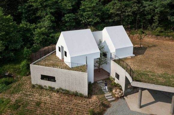 Дом из белых домиков в Южной Корее