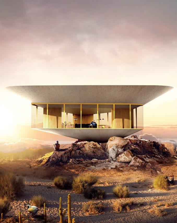 Нереальная архитектура: домик с бассейном на крыше