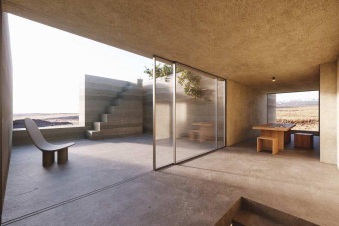 Земляной минималистский дом