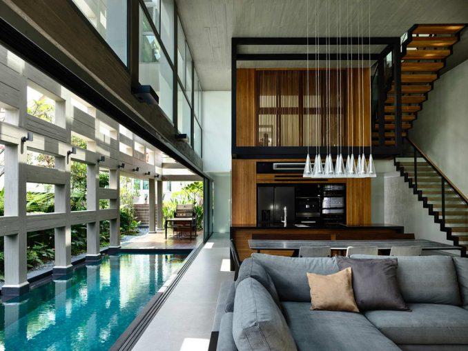 Решётчатый дом с бассейном в Сингапуре